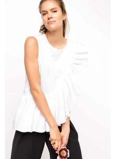 DeFacto Fırfırlı Bluz Beyaz